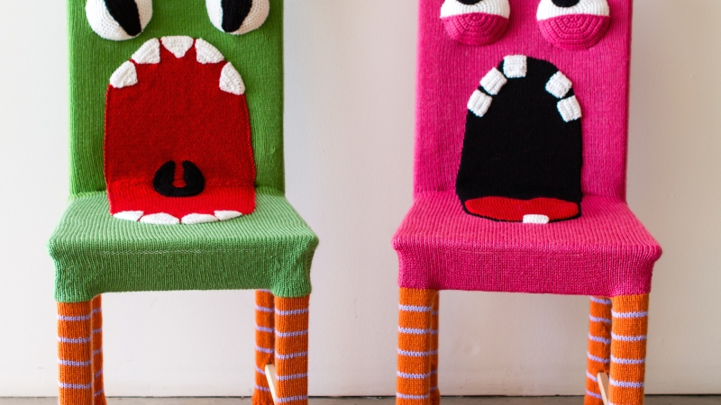 Yarn Bombed Monster Chairs