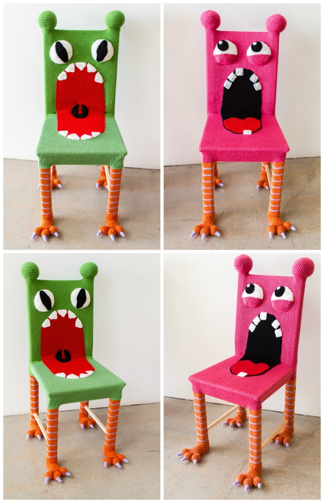 Yarn bombed monster chairs knit chairs knit bomb