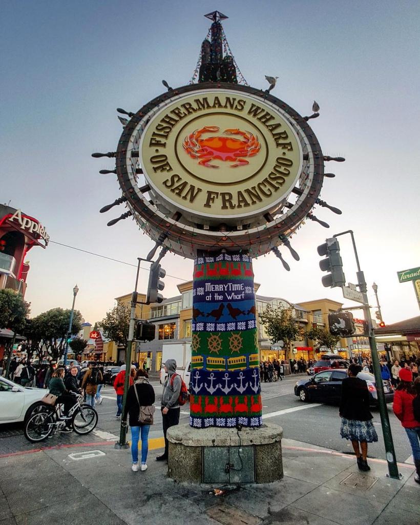 Fishermans Wharf San Francisco Yarn Bomb by Knits for Life, Lorna and Jill Watt