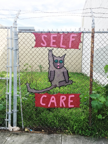 Self Care Valentine's Day Yarn Bomb
