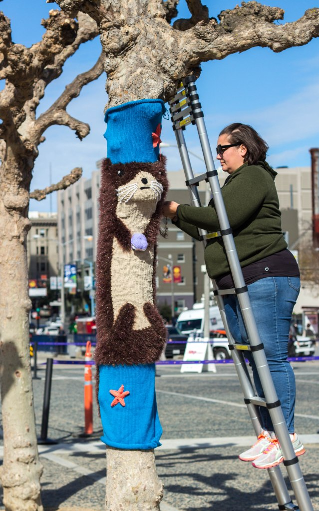 Sea Otter Tree Yarn Bomb by Knits for Life for Knitting the Commons in San Francisco Civic Center`