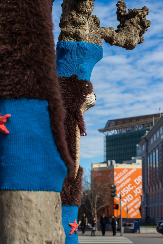 Sea Otter Tree Yarn Bomb by Knits for Life for Knitting the Commons in San Francisco Civic Center
