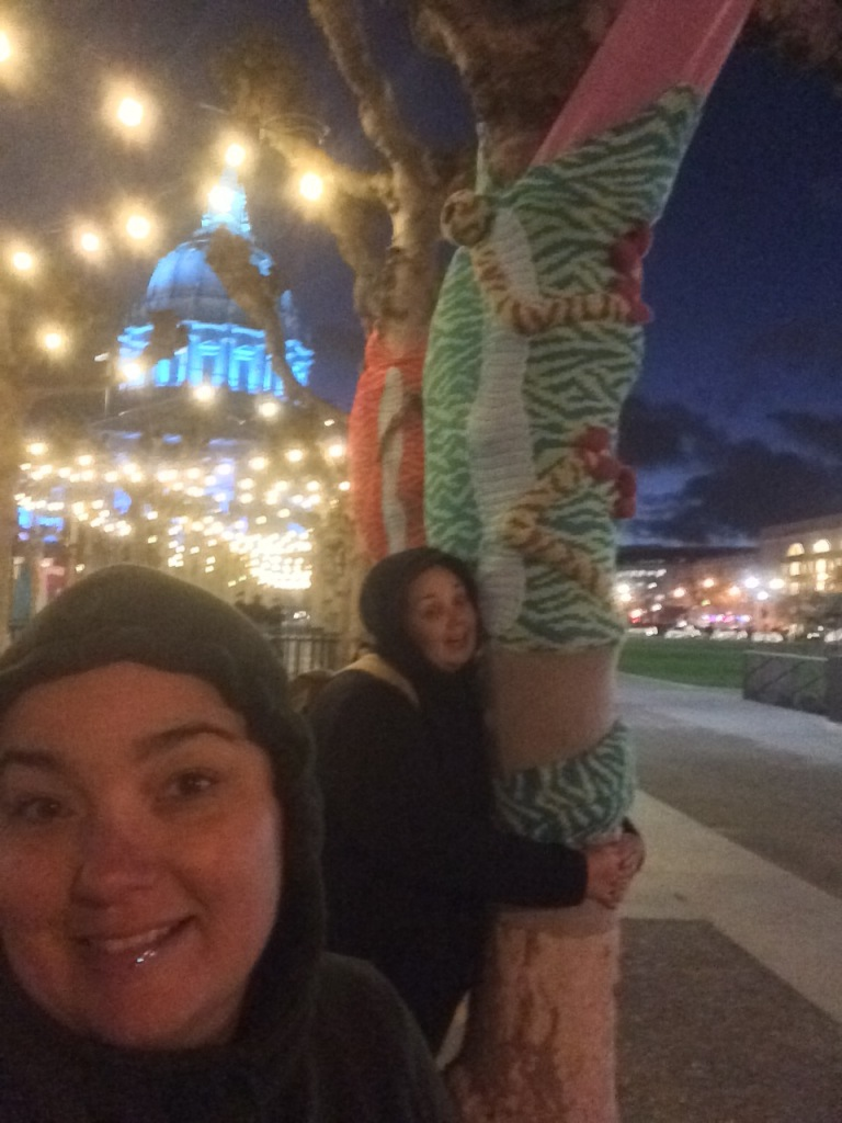 Chameleon Tree Yarn Bomb by Knits for Life for Knitting the Commons in San Francisco Civic Center