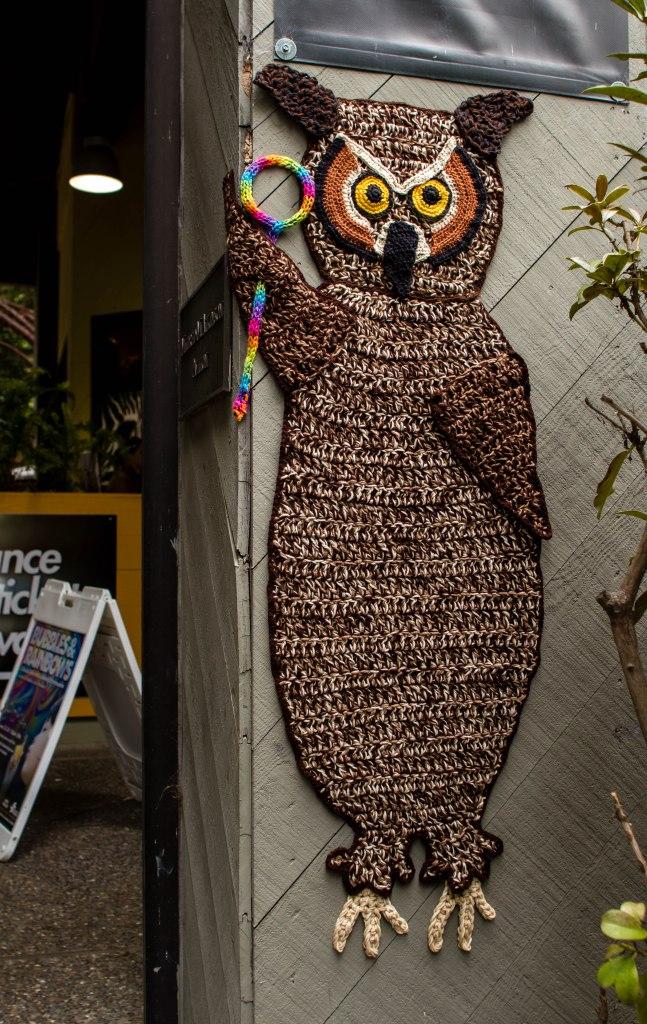 Curiodyssey x Knits for Life Bubbles & Rainbows Owl Yarnbomb