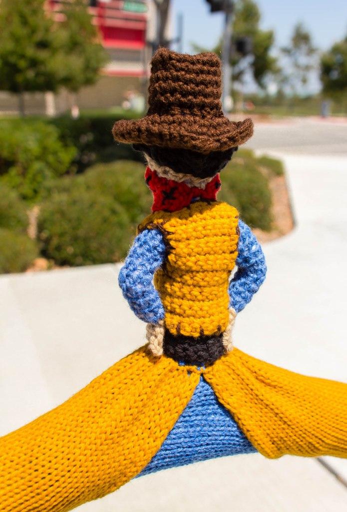 Cowboy bike rack yarn bomb by Knits for Life