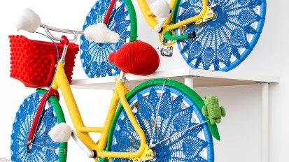 Google Bikes YarnBomb