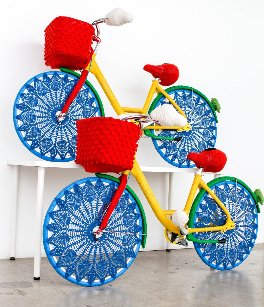 Google Bikes Yarn Bomb by Knits for Life